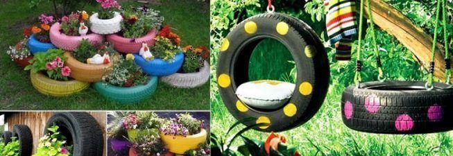 Neumáticos para decorar el jardin