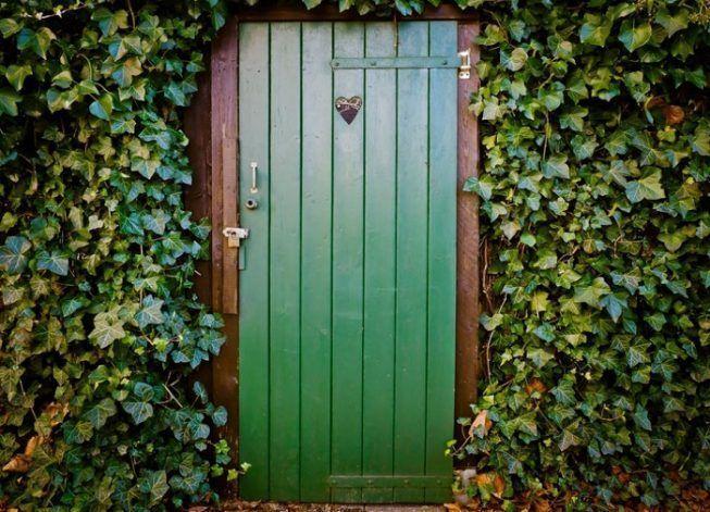 Puerta rustica en verde oliva