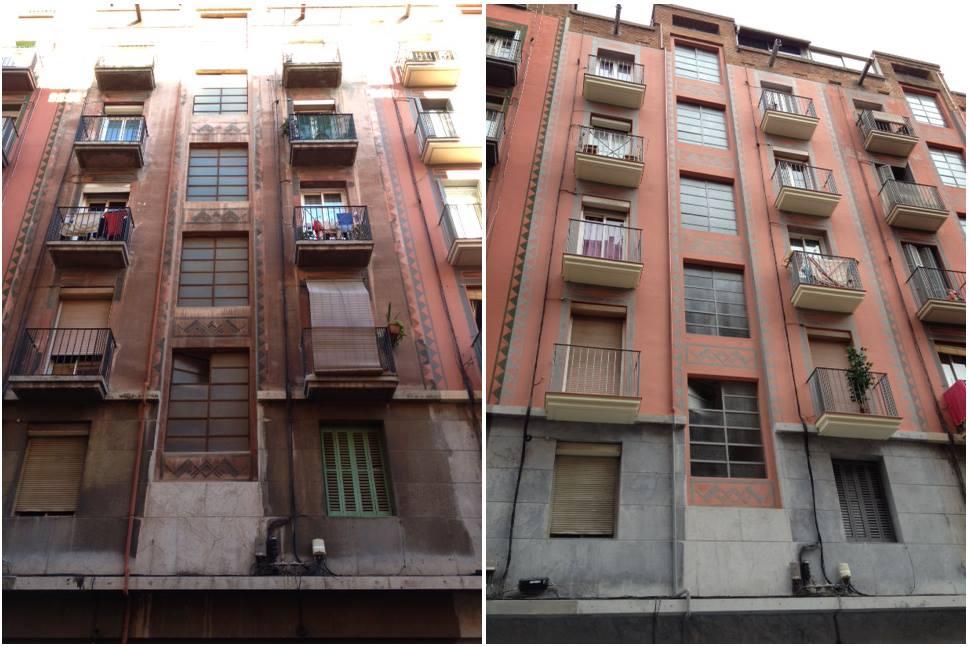 Rehabilitación de fachada en Barcelona (antes-después)