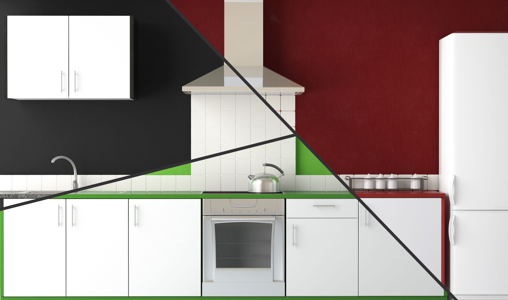 4 combinaciones de colores para decorar tu cocina