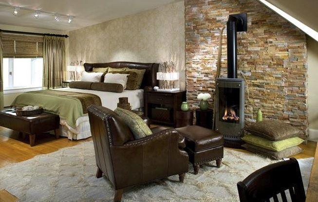 Piedra rústica en casa elegante