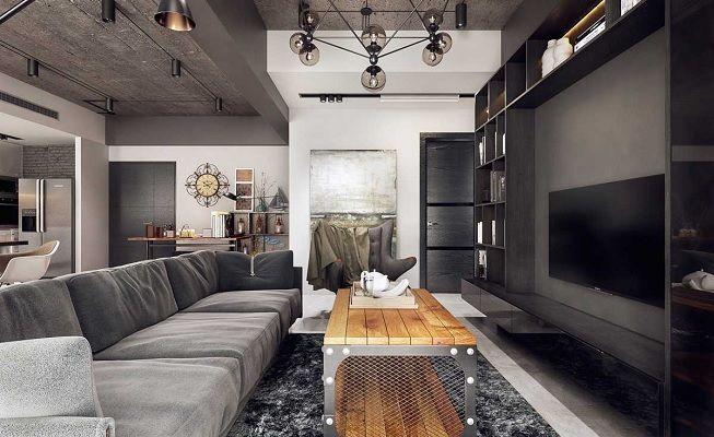 Salón en gris industrial