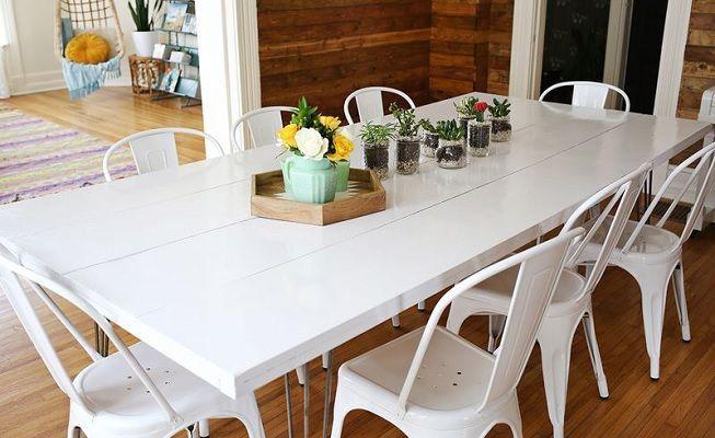 Comedor pintado en blanco