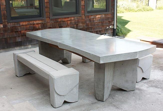 Mueble para exterior creado con cemento