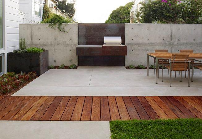 Terraza con madera y cemento